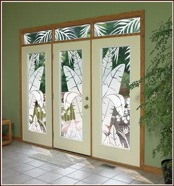 Tropical Oasis Etched Glass Film Wallpaper For Windows Door Glass Design Etched Glass Door Glass Etching
