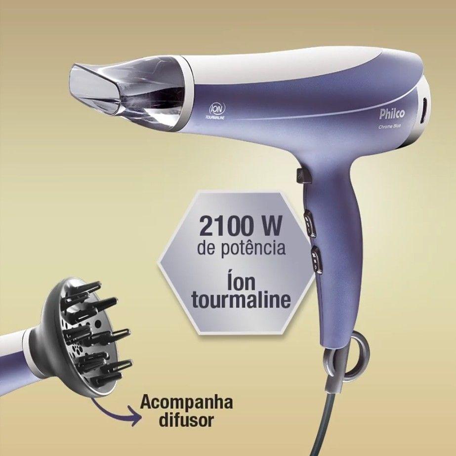 Secador De Cabelos Chrome Blue Psc08aze Philco 110v Ou 220v Secador Secador De Cabelo Difusor