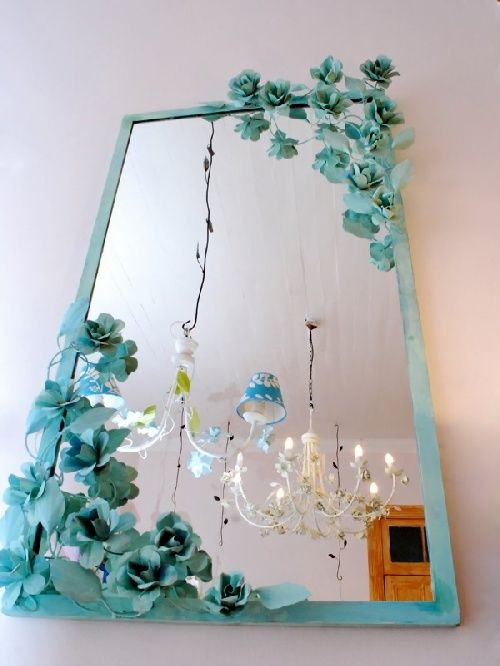 Espejo Con Flores Paredes De Espejos Antiguos Espejos Decorativos Decoracion Espejos