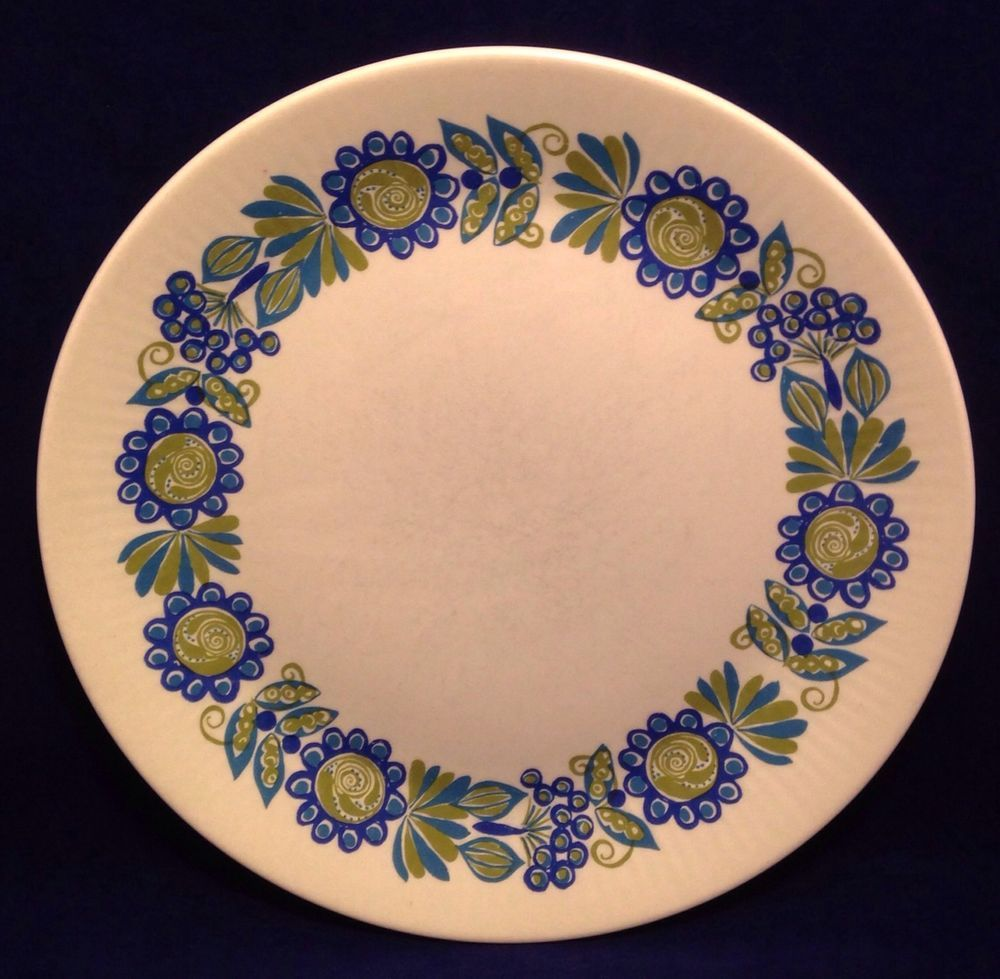 Set of 6 TOR Viking Turi Design Figgjo Flint Norway Dinner Plates Blue Green MCM #MCM