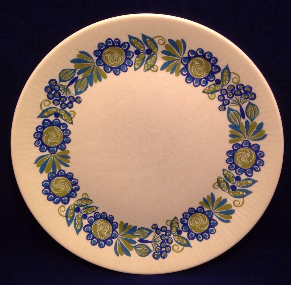 Set of 6 TOR Viking Turi Design Figgjo Flint Norway Dinner Plates Blue Green MCM #MCM