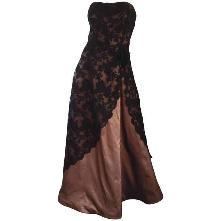 6bec0fb5681 Incredible Vintage Rose Taft 1950s Style Black + Brown Lace + Silk Taffeta  Gown