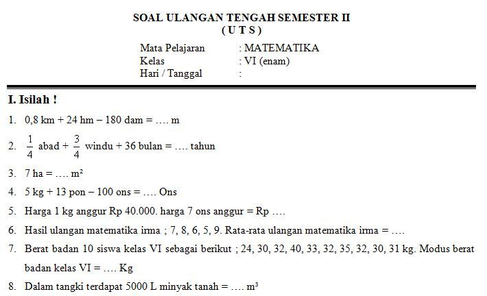 Contoh Soal Uts Bahasa Arab Kelas 5 Smster 2