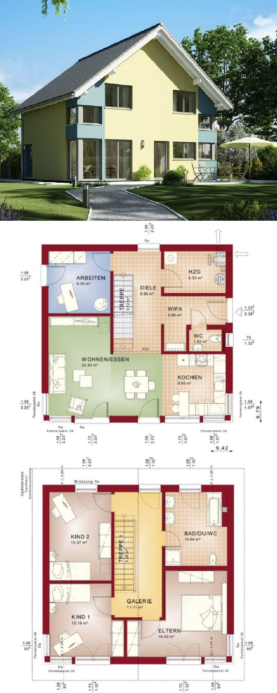 Modernes Haus Mit Galerie U0026 Satteldach Architektur   Einfamilienhaus Bauen  Grundriss Fertighaus Evolution 136 V5 Bien