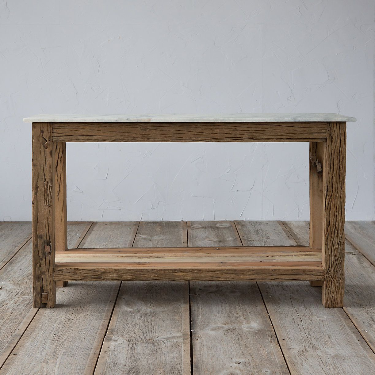 Charmant A Clean, Marble Top Pairs With Rustic Legs Of Recycled Mango Wood To Form  This