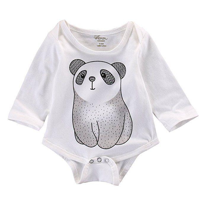 Baby Infant Cute Panda Long Sleeve Bodysuits Newborn Rompers (0-3M)