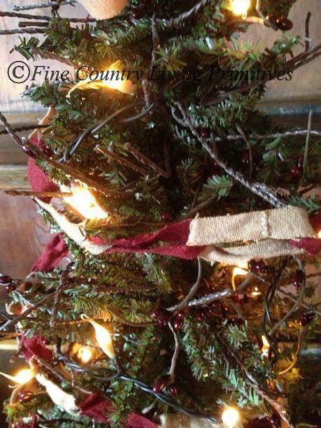 Primitives Christmas Wool Fabric Chain Garland 9 ft long Seasonal - primitive christmas decorations