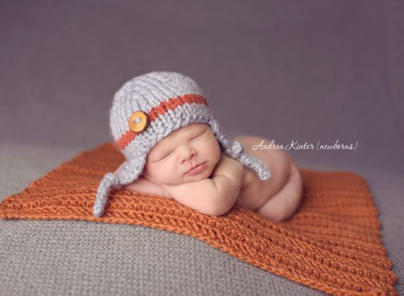 Gray with orange stripe baby boy knitted hat newborn photography prop baby shower gift