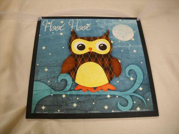 Hoot Hoot Owl Wooden Girls Bedroom Wall Art Sign Moon Stars