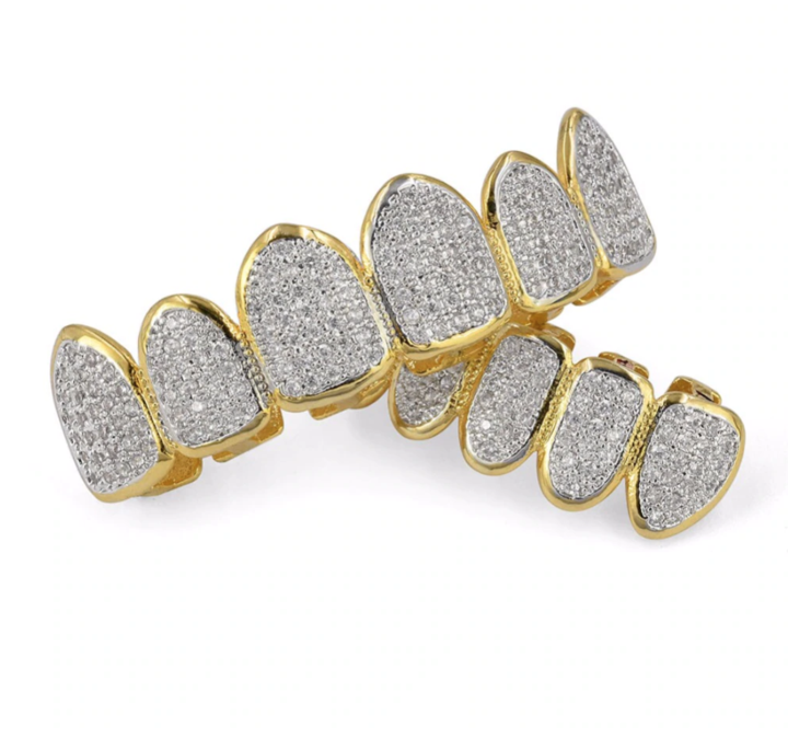 Iced Out Permanent Look Grillz Ice Tray Usa Grillz Gold Grillz 14k Gold Plated