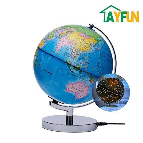 AyFUN Celestial Interactive Globe Day View World Globe And Night - Interactive globe map