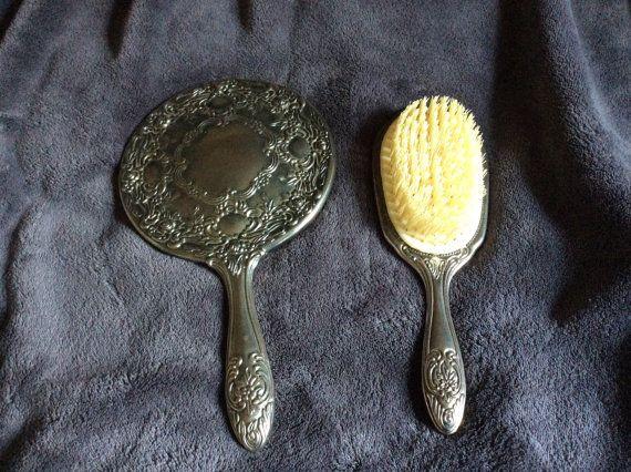 Silver plated Vanity/ Dresser set hand mirror hair set brush set lovely pattern vintage vanity setsilver plated vanity set & Silver plated Vanity/ Dresser set hand mirror hair set brush set ...