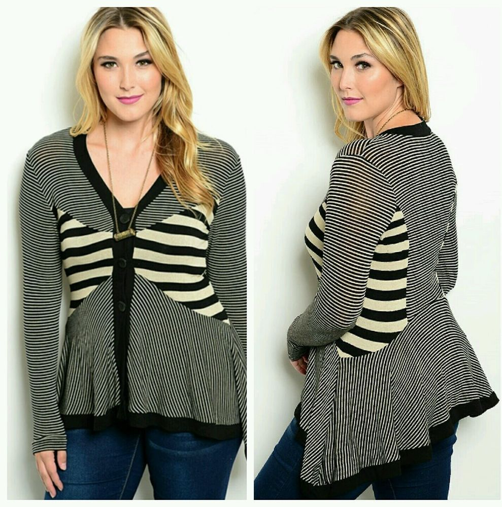 New Womens Fall Plus Size Black Beige Sweater 3X button up ...