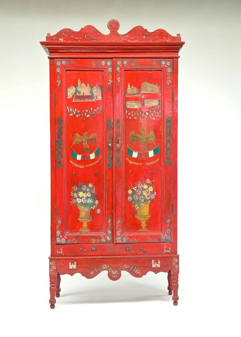 Mueble Mexicano Mexican Tall Lacquered Cabinet From Olinala Decoracion