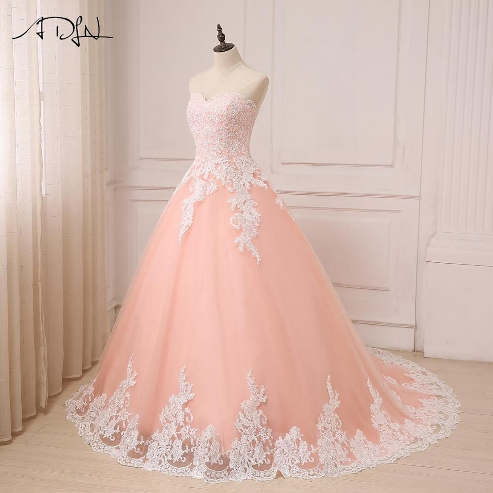 Coral Sweetheart Sleeveless Tulle Wedding Gowns Ball Gown Tulle