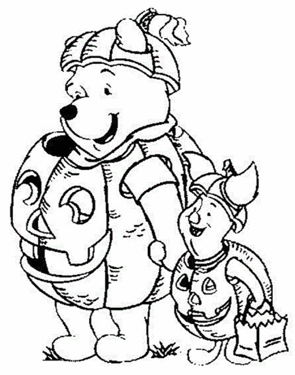 free pooh friends halloween coloring pages for kids picture 07 disney winnie the pooh coloring pages - Halloween Coloring Pages Disney