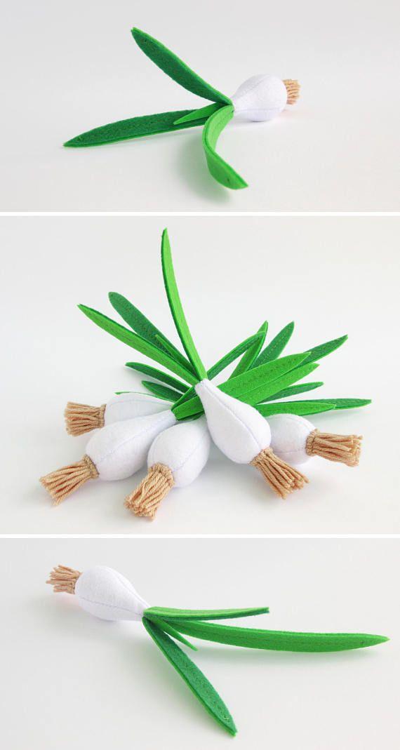 Baby shower gift Green onion felt Organic baby toy Toddler gift eco-friendly toy Children gift for baby Pretend play felt food fruit Toy set #felttoys
