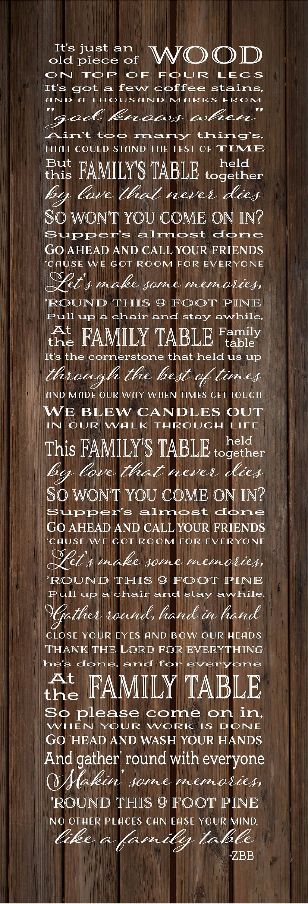 Family Table Lyrics Zac Brown Band Wood Sign Canvas Wall Art Christmas Sympathy By Heartlandsigns On Etsy Zac Brown Band Family Table Canvas Wall Hanging