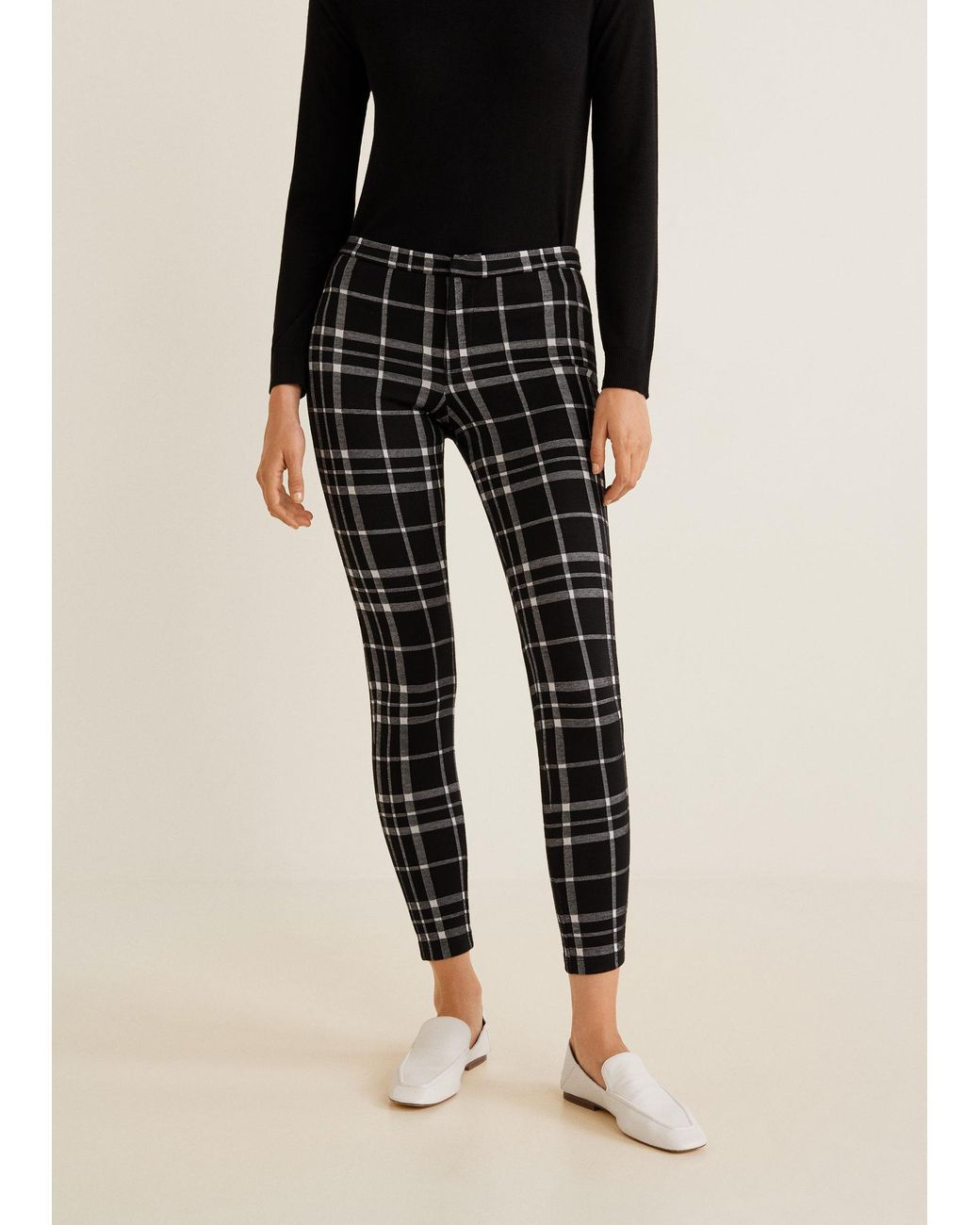 bba749eb4b413 Women's Black Checks Print leggings | Esthetic | Printed leggings ...