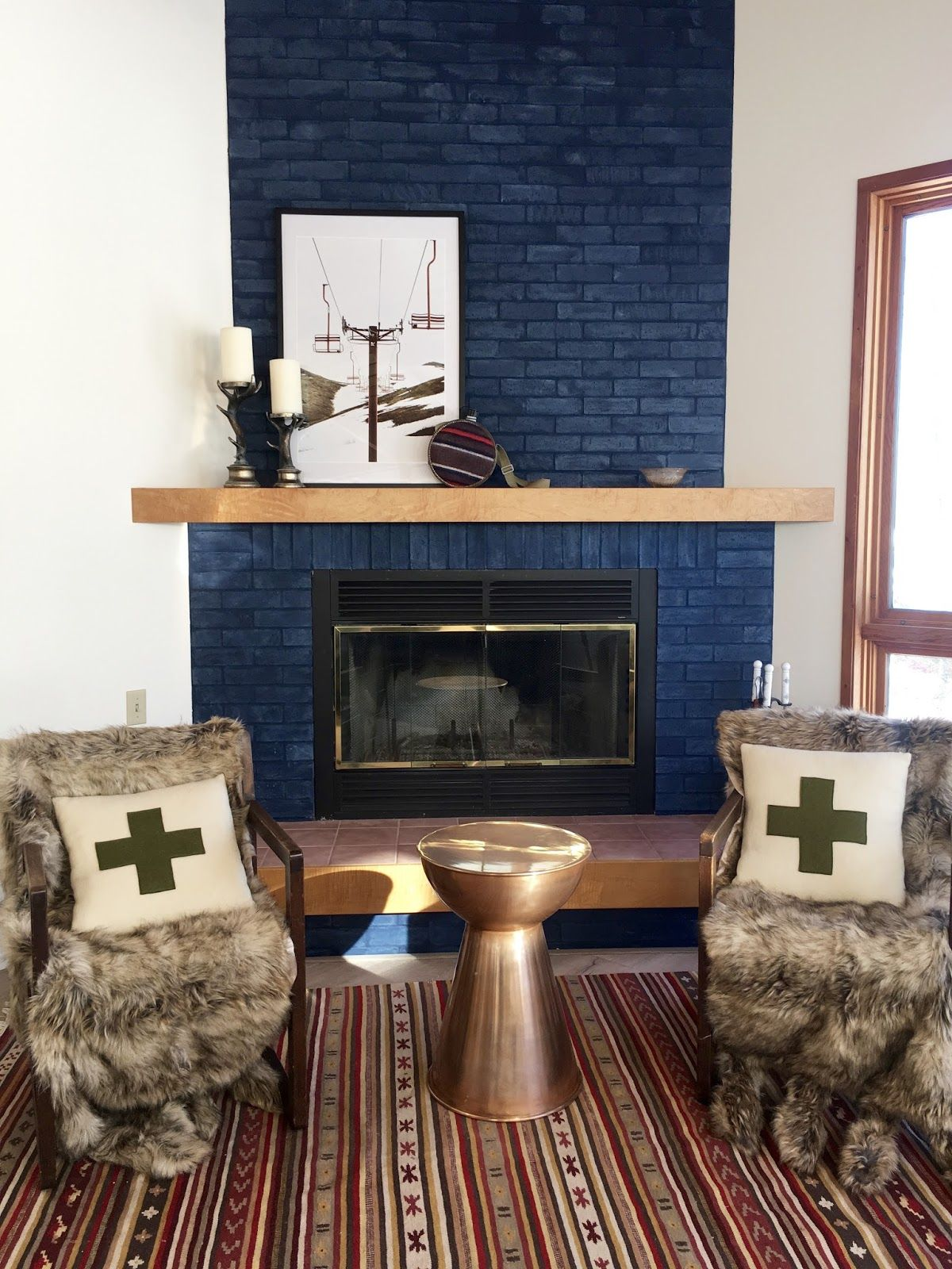 This Navy Brick Fireplace Wall Also Works As A Room