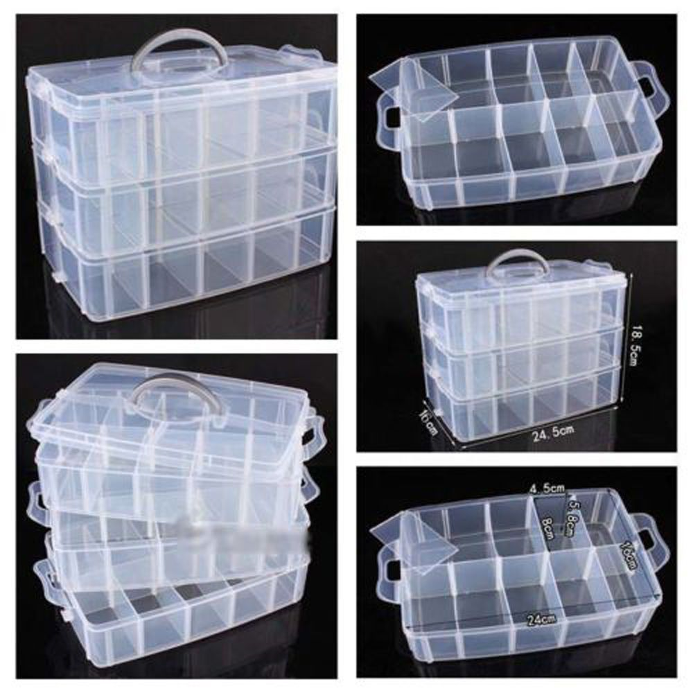 New Plastic Clear Jewelry Bead Organizer Box Storage Container Case