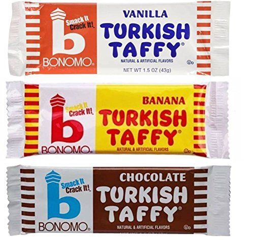 Bonomo Turkish Taffy Candy 3 Flavor 9 Bar Variety Bundle: (3) Bonomo Vanilla Turkish Taffy, (3) Bonomo Chocolate Turkish Taffy, and (3) Bonomo Banana Turkish Taffy, 1.5 Oz. Ea. (9 Bars Total) Bonomo