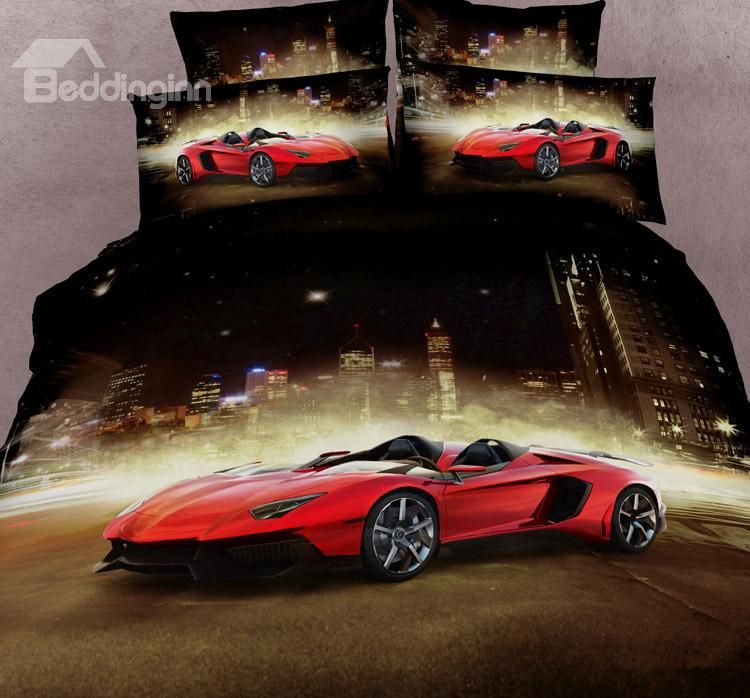 New Arrival Luxury Sports Car Print 4 Piece Bedding Sets