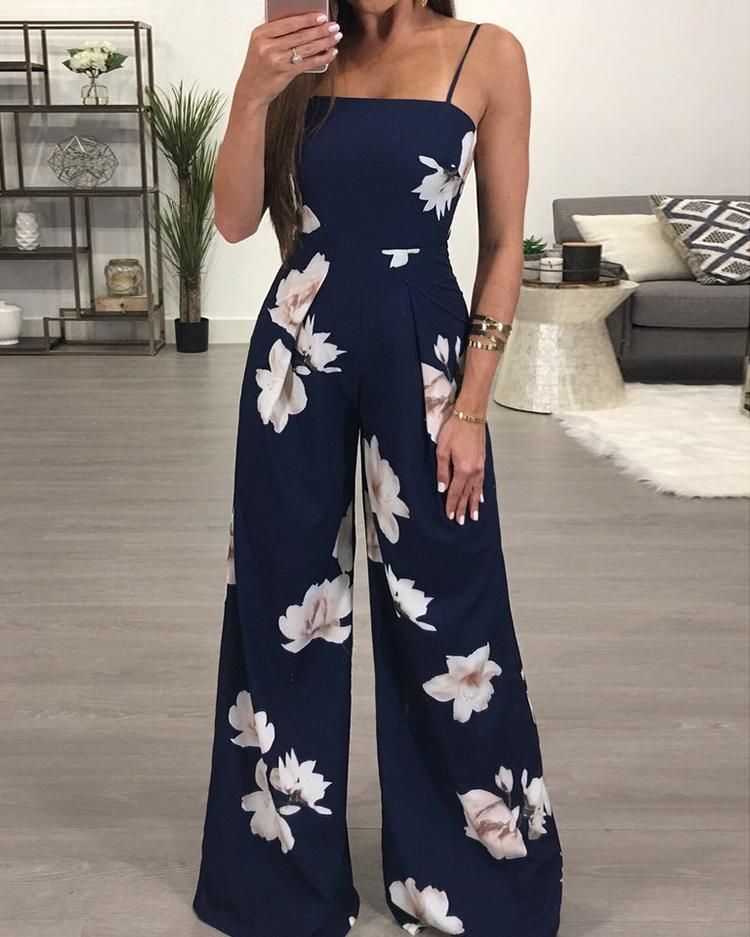 Women Crew Neck Sleeveless Strap Drawstring Waisted Long Pants Jumpsuit Rompers