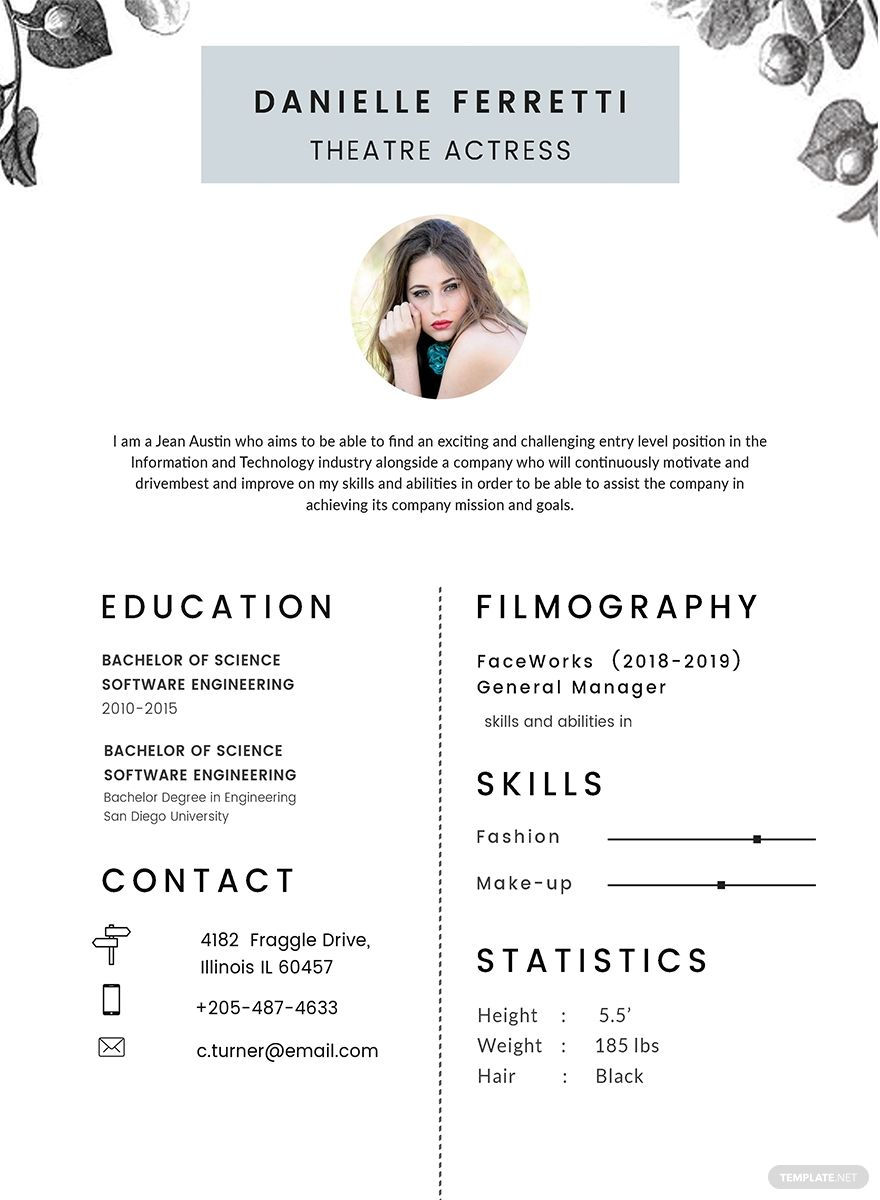 Free Beginner Acting Resume Template Ad Ad Beginner Free Acting Template Resume Acting Resume Acting Resume Template Cv Template Word
