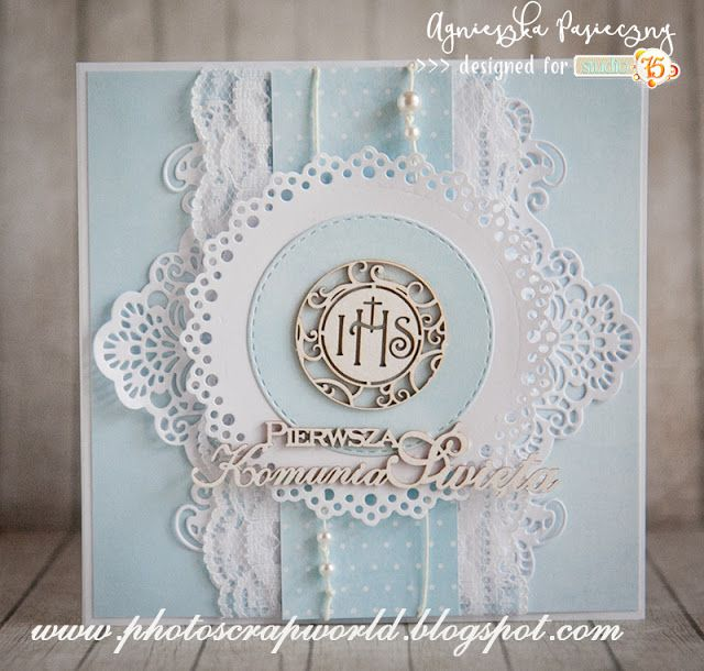 First Holi Communion card created with Primo collection. Multilayered, delicate, pale blue papers.