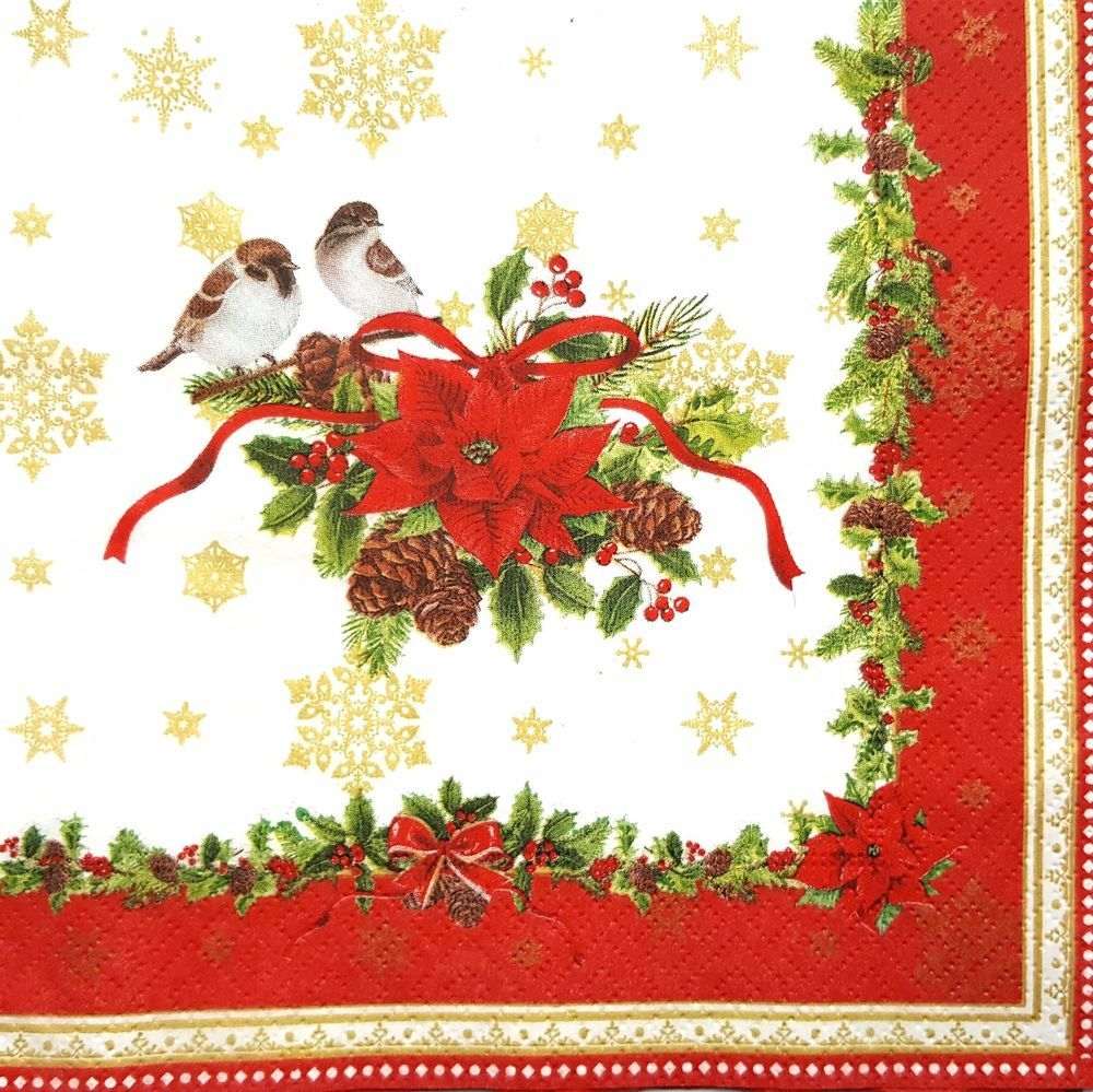 4 Single Lunch Paper Napkins for Decoupage Craft Napkin  Magic Christmas Moment