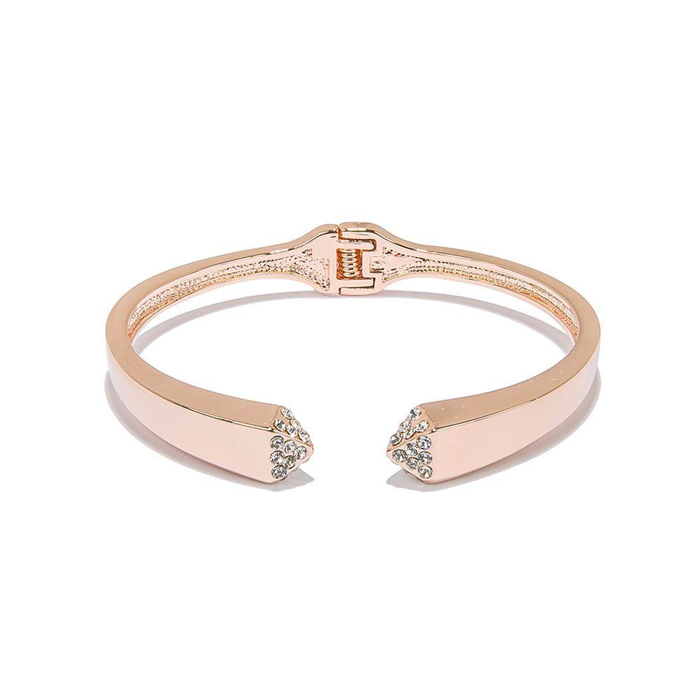 Women rose gold plated cuff bracelet jewelry adjustable mouth charm