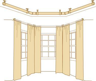 Curtains Ideas bay window curtain pole ceiling fix : 17 best ideas about Bay Window Curtain Rail on Pinterest | Bay ...