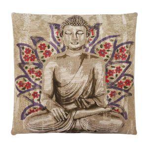 Buddha Cushion Beige and Purple W45 x H45 cm