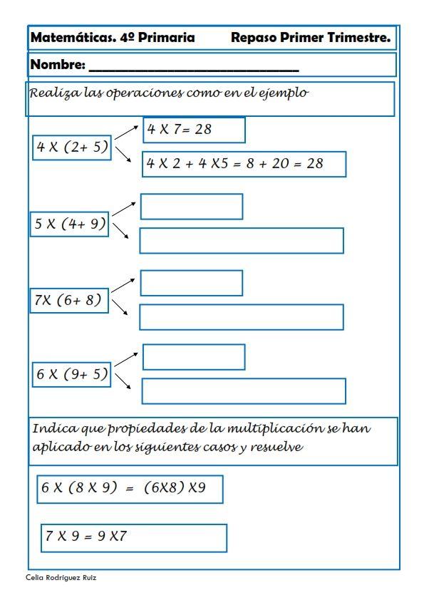 Matemáticas. Fichas para cuarto de primaria | Pinterest
