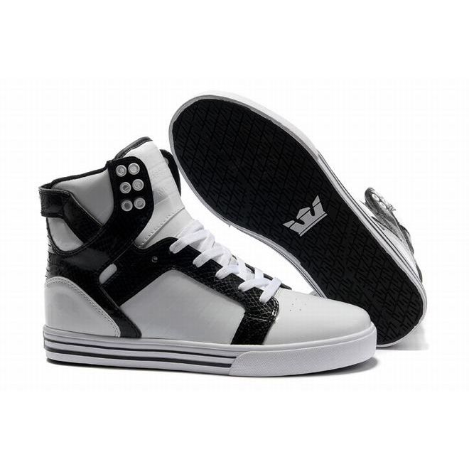 Mens High Top Supra Skytop Skate Shoes with White and Black Color