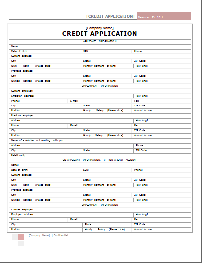 Credit Application Form By Filling In The Credit Application Form
