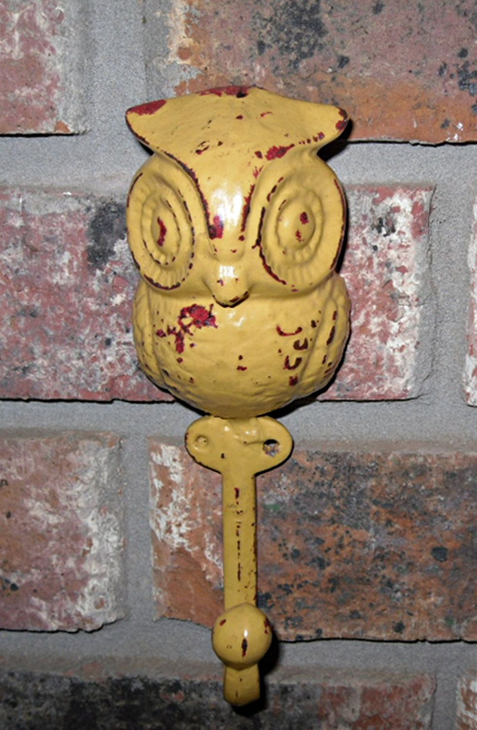 Cast Iron Owl Hook / Wall Hook / Refinished in Retro Mustard Yellow ...