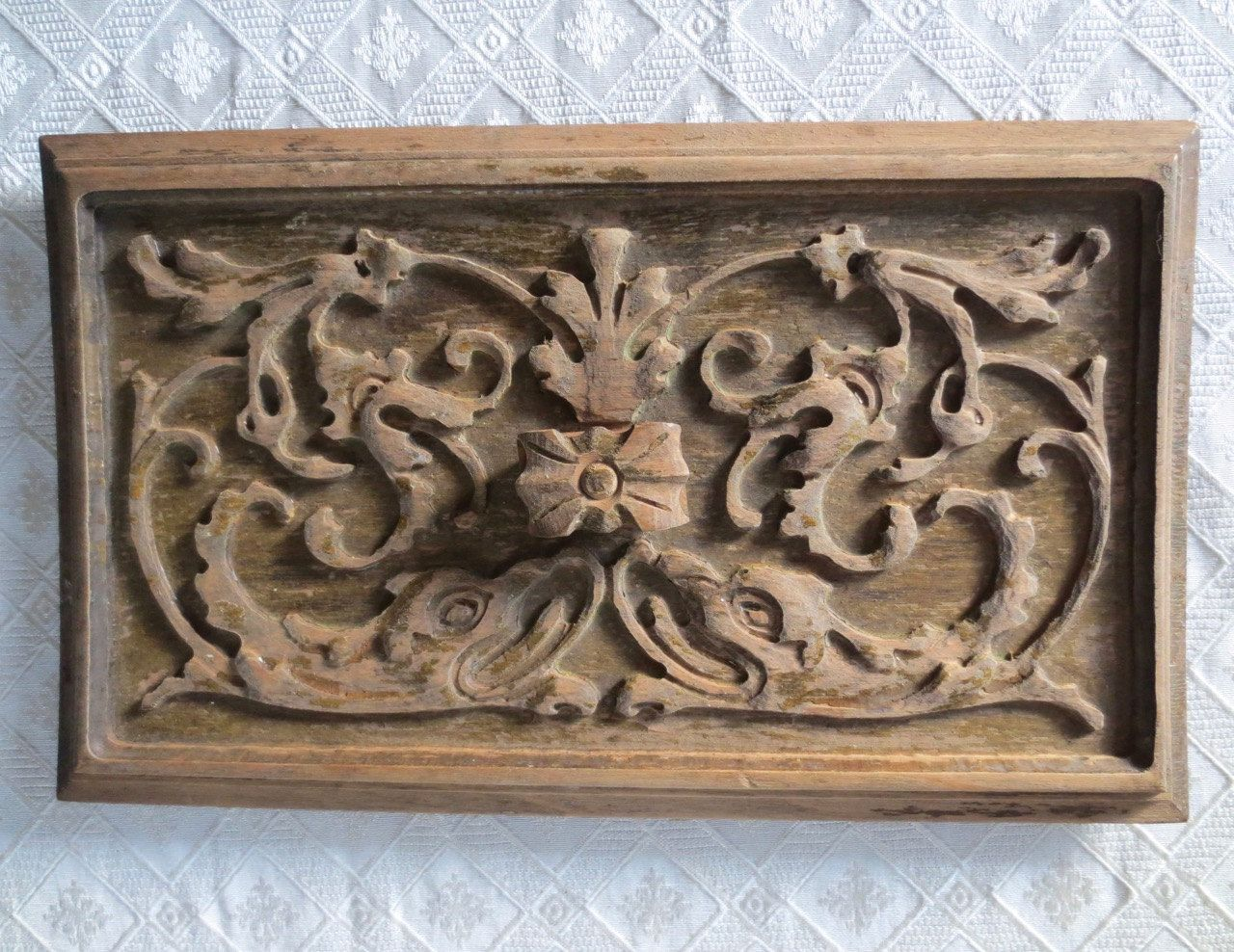 Antique carved drawer panel wooden relief drawer front carving diy