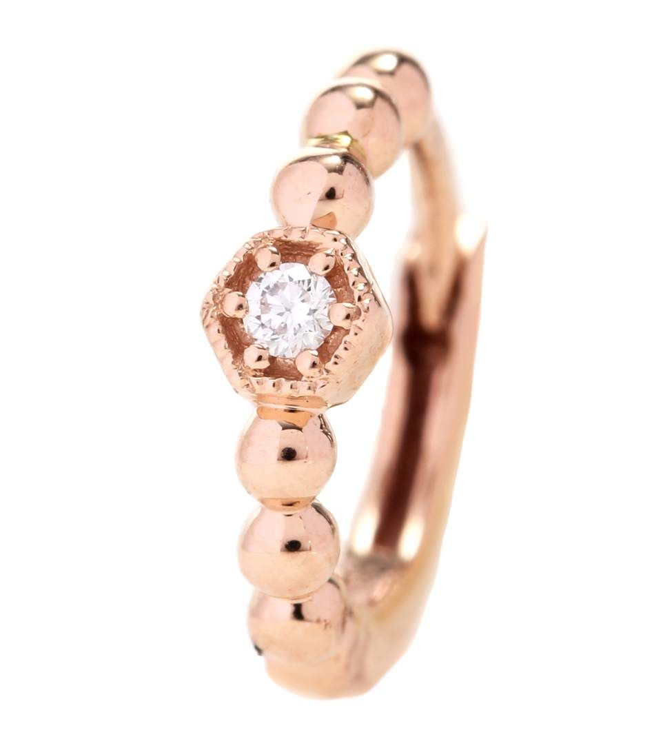 Stone Paris Tiny Hoop Charmante 18kt rose gold and diamond earring