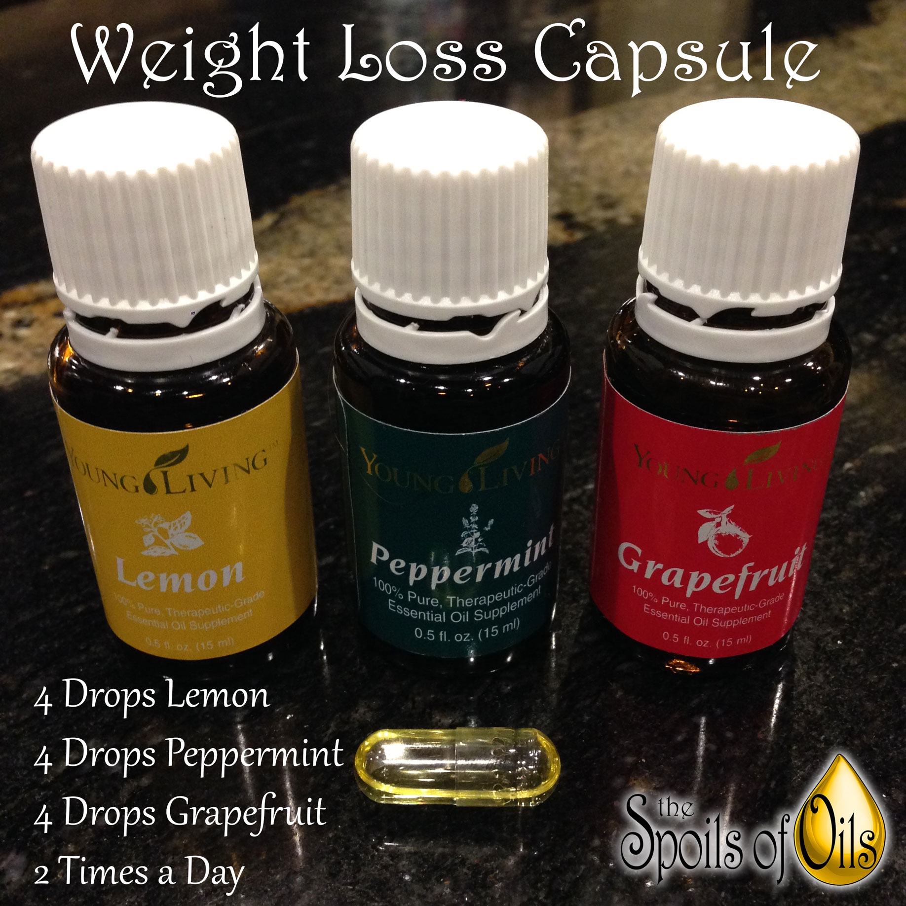 Weight Loss Capsule Combine Lemon Peppermint And Grapefruit
