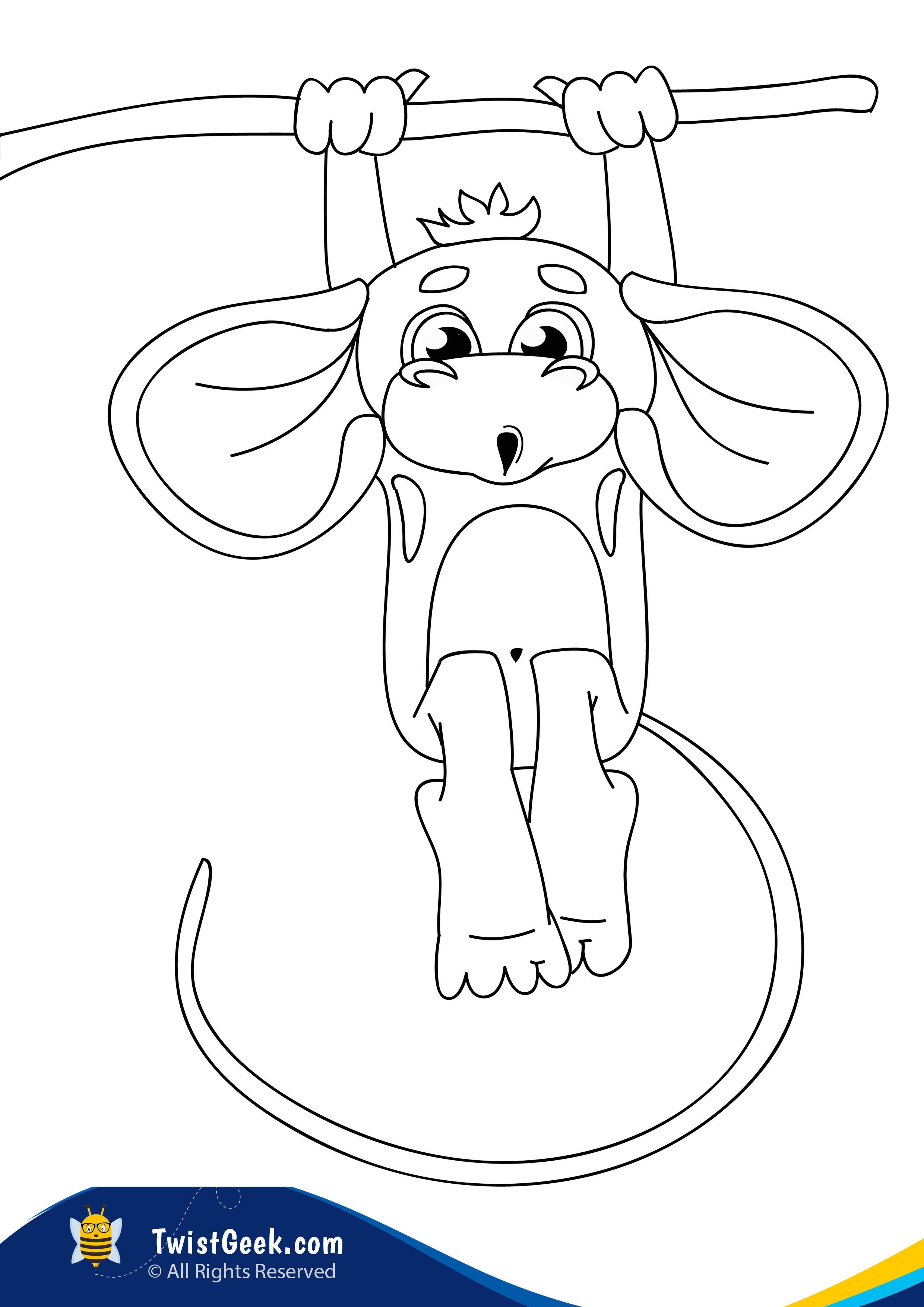 Free A4 Printable Monkey Coloring Pages TwistGeek i 2020