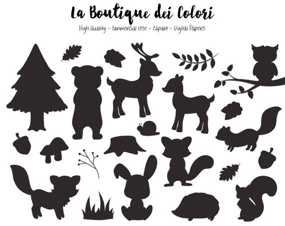 Woodland Animals Silhouette Clipart Cute Graphics Eps And Etsy Animal Silhouette Woodland Animals Animal Clipart