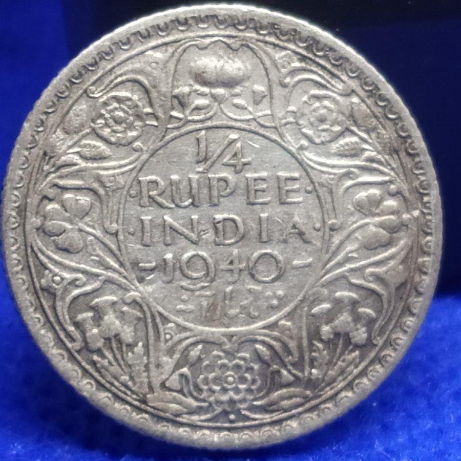 1 4 Rupee 1940 George Vi British India Xf Silver Coin Coinbazzar Com In 2020 Silver Coins Coins George Vi