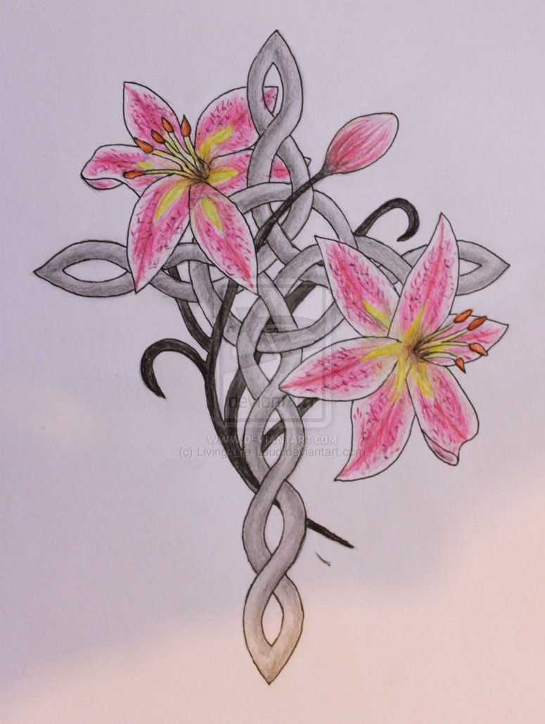 This would be a beautiful tattoo in memory of Anastasia.  Celtic cross and stargazer lilies tattoo design by ~Living-Life-Loud on deviantART