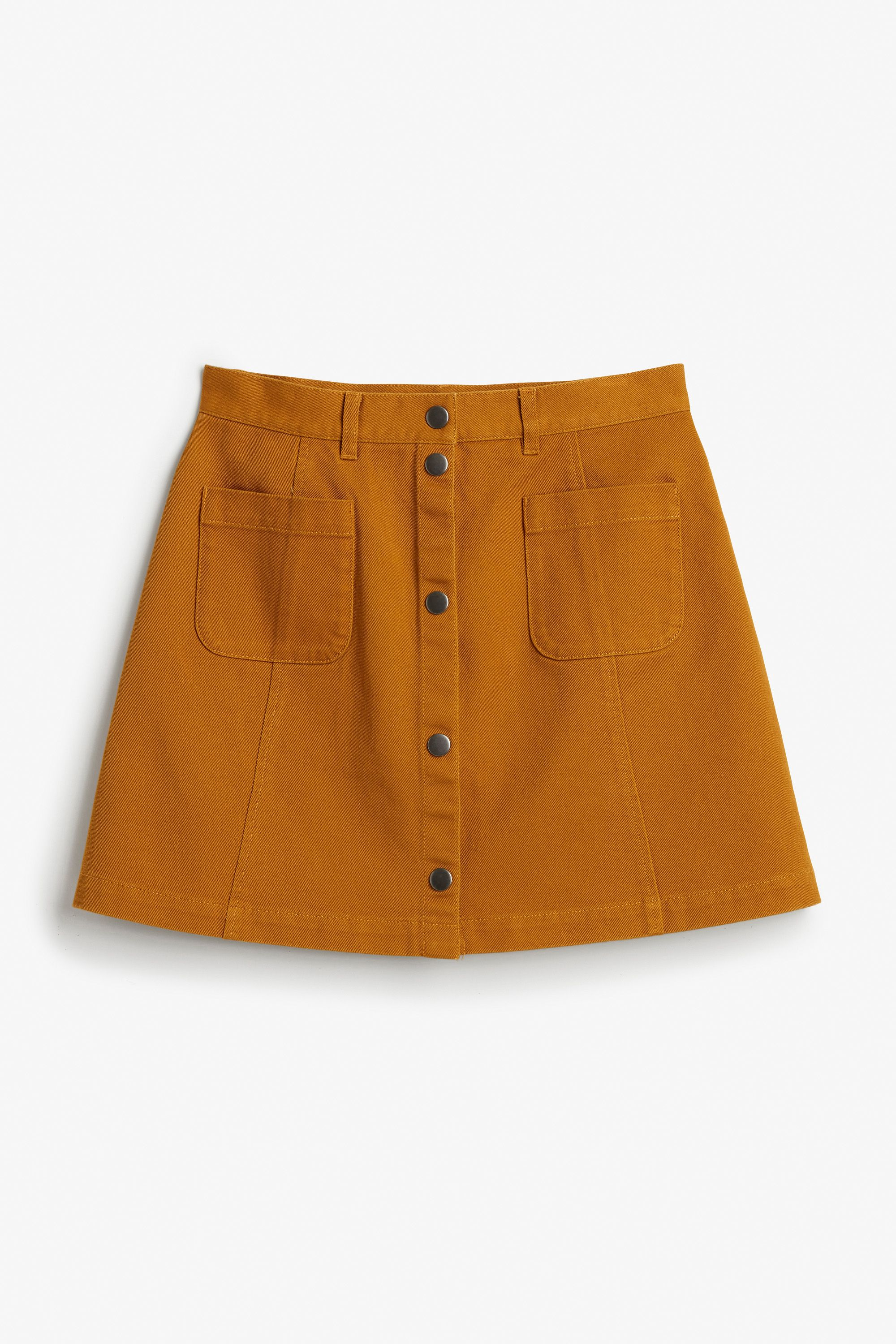 fb4d36d722 Monki Image 1 of Button-front A-line mini skirt in Yellow Reddish Dark