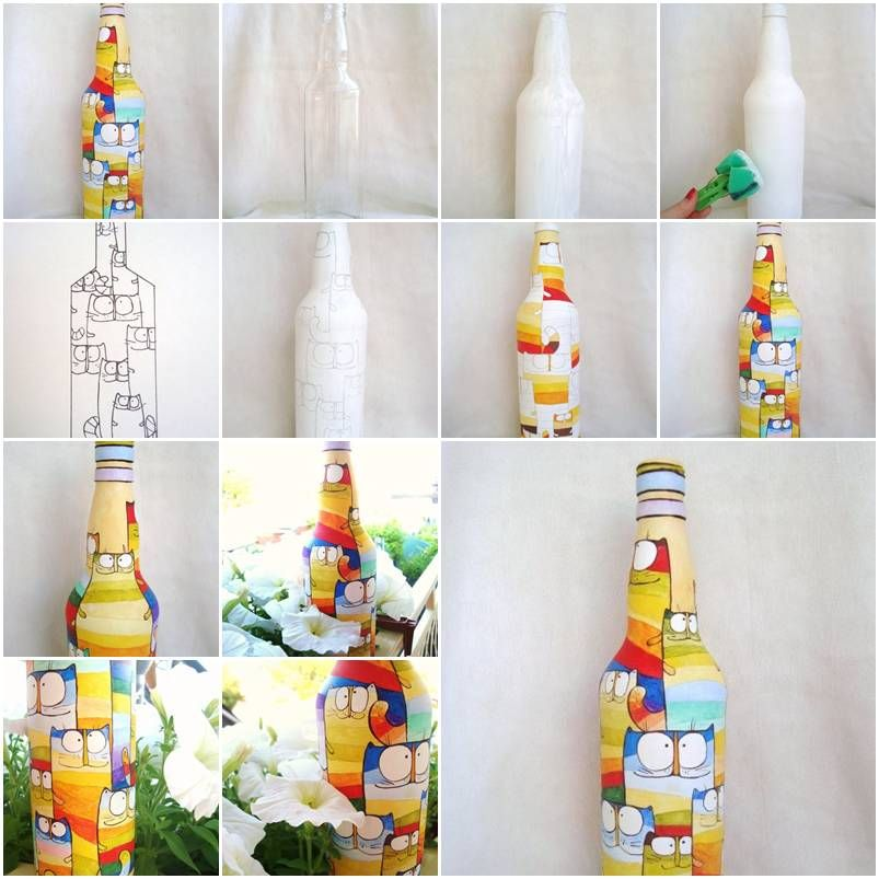 How to paint pretty acrylic painting on bottles step by for Step by step acrylic painting tutorial