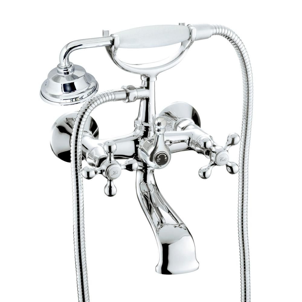 Modona Classic 6 In 2 Handle 1 Spray Tub And Shower Faucet With Porcelain Hand Held Shower In Polished Chrome Valve Included White Porcelain And Shower Tub Tub Shower Faucets Shower Faucet
