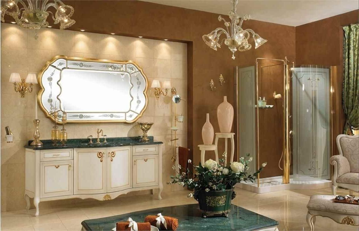 Pics Of Classic Pretty Bathroom Set Design With Brown Wallpaper As Well Luxury Mirror Wall Mount Including Granite