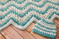 Gentle Ripple Baby Blanket and Hat